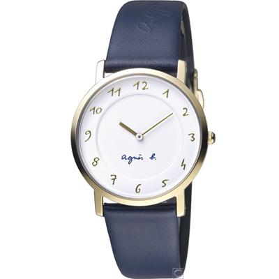 agnes b.簡約手繪時標時尚錶(BG4020P1)34mm/藍色