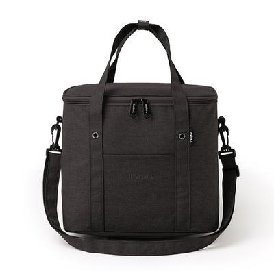 PUSH-居家生活用品便攜式保溫袋野餐包便當包午餐保鮮包飯盒袋帶肩帶S78黑色