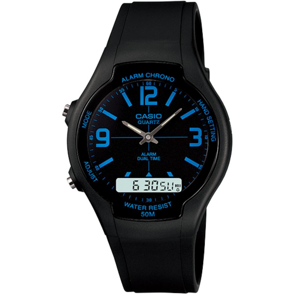 CASIO 都會個性型男雙顯錶-黑面藍刻度(AW-90H-2B)/32.5mm