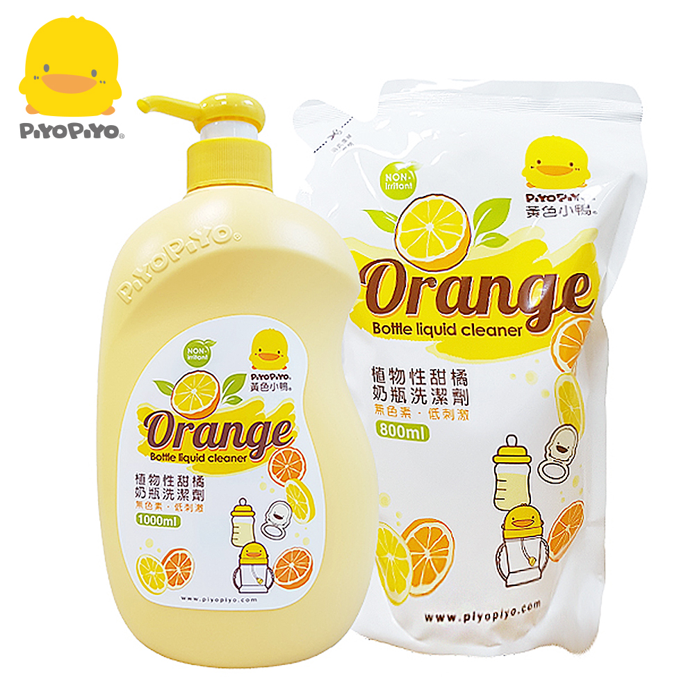 黃色小鴨《PiyoPiyo》植物甜橘奶瓶洗潔劑超值組【罐裝1000ml+補充800ml