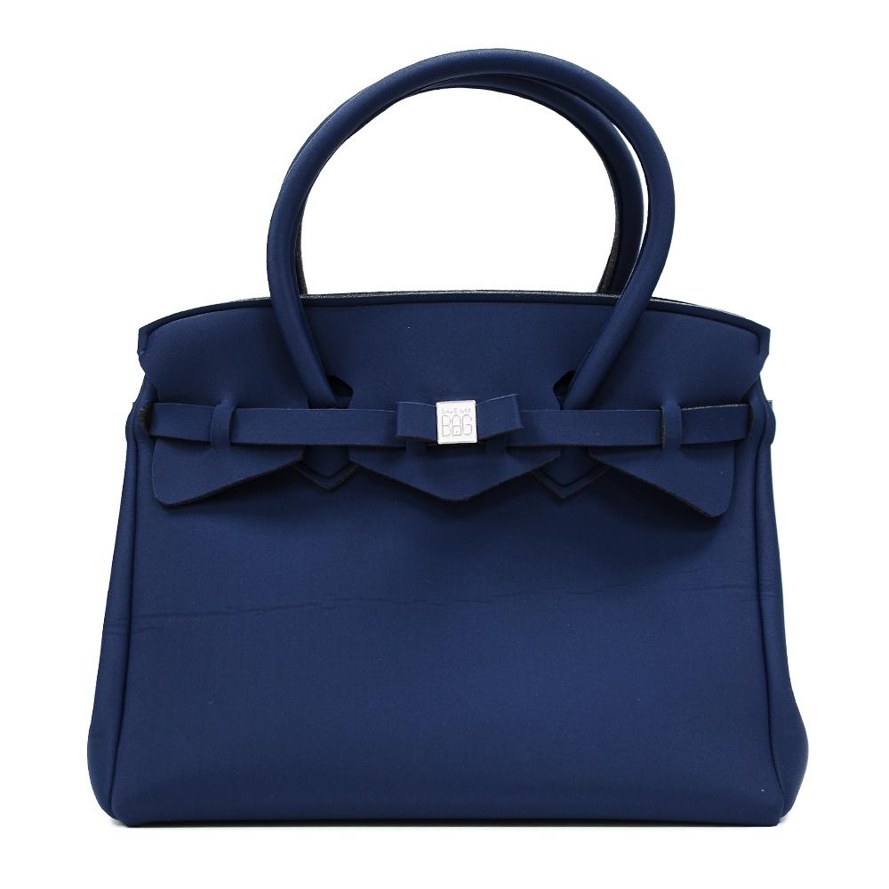 SAVE MY BAG 義大利品牌 MISS PLUS升級版 午夜藍超輕量拉鍊手提托特包