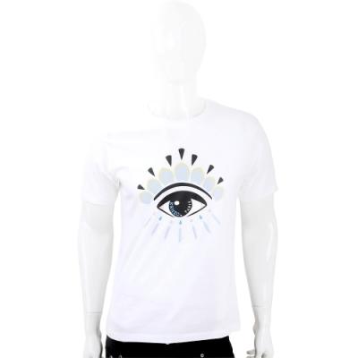 KENZO Eye 撞色眼睛印花白色棉質T恤(男款)