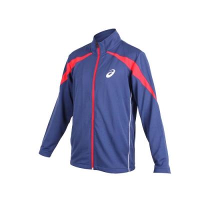 ASICS 男針織運動外套-立領外套 慢跑 路跑 亞瑟士 丈青紅白