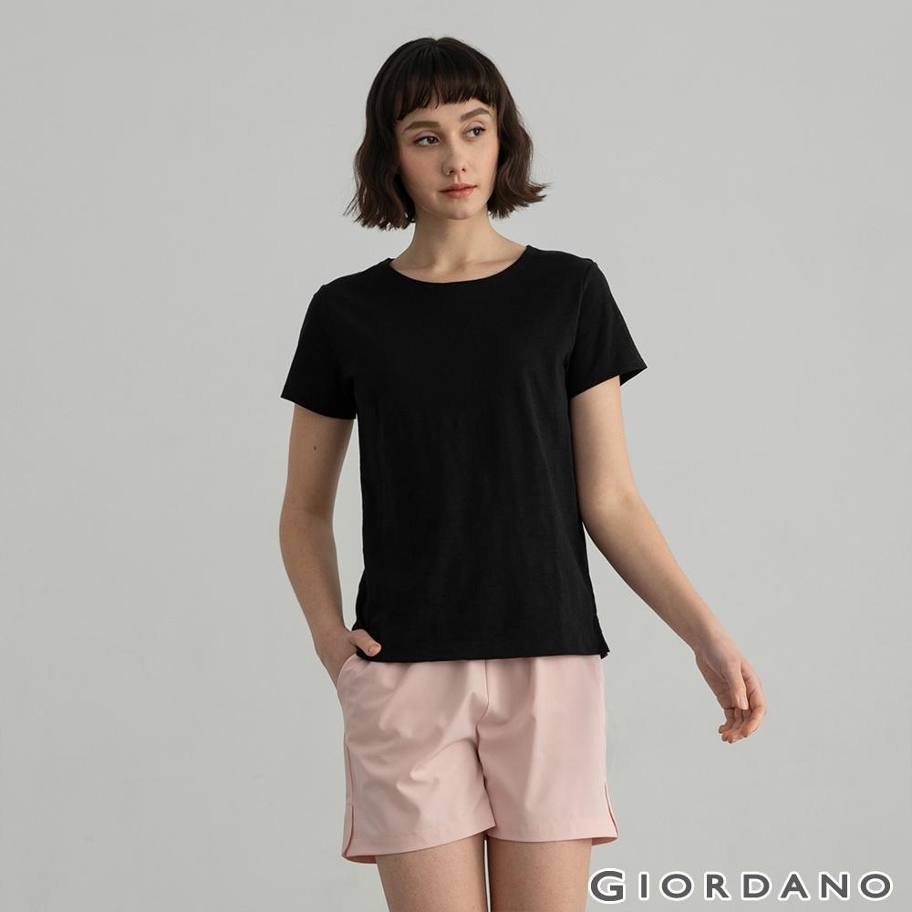 GIORDANO 女裝素色竹節棉T恤 - 19 標誌黑