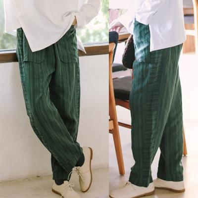 休閒褲-訂製亞麻綠色直條紋寬鬆直筒哈倫長褲-設計所在