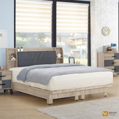 D&T 德泰傢俱 Alexandra時尚工業風5尺雙人床片床架組 寬152X深200.5X高27公分