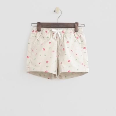 Hang Ten -童裝 - 綁帶造型logo滿版短褲 - 白