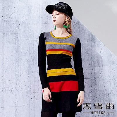 【麥雪爾】橫條色塊縮腰針織洋裝-黃