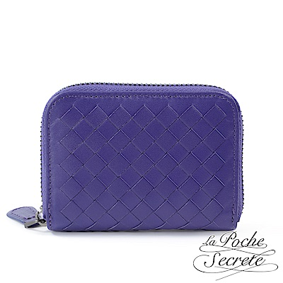 La Poche Secrete 編織小羊皮拉鍊卡夾包-靚麗紫