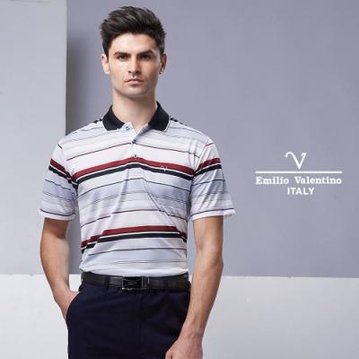 Emilio Valentino 高質感異材質拼接短袖POLO衫_粉(15-9V2908)