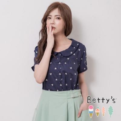 betty's貝蒂思 圓翻領印鞋透膚開襟襯衫(深藍)