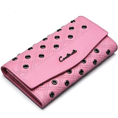 米蘭精品 長夾真皮皮夾-鉚釘裝飾三折長款手拿包情人節生日禮物<b>2</b>色73ny32