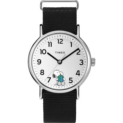 TIMEX 天美時 x SNOOPY 限量聯名系列擁抱地球手錶-白x黑/38mm