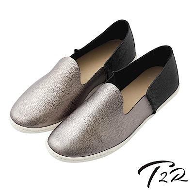 【T2R】真皮手工質感輕便懶人鞋-灰