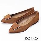 KOKKO -通勤蜜糖真皮方扣尖頭平底鞋-大地棕