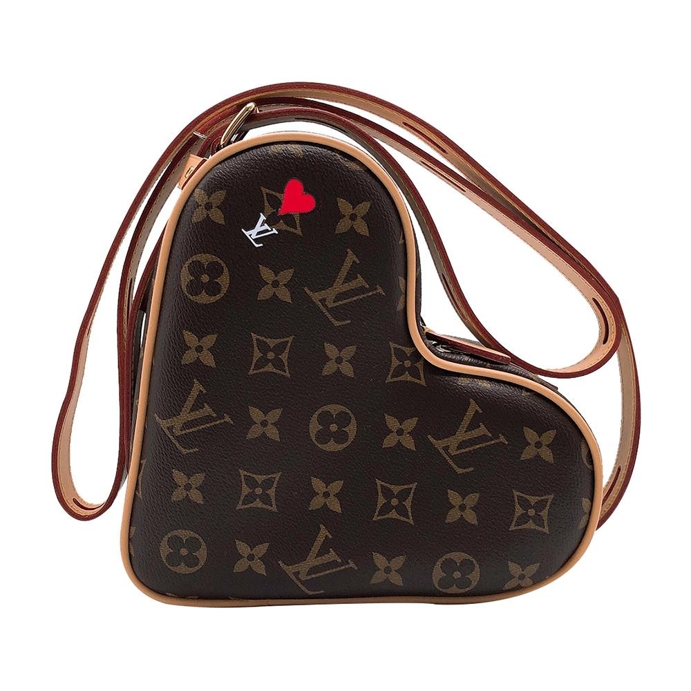 Louis Vuitton 經典Game On Coeur 帆布愛心造型斜背包(M57456-咖)