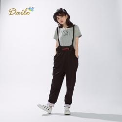 【Dailo】童趣造型吊帶褲(黑色)