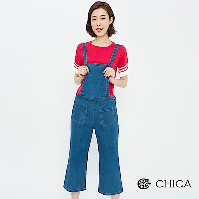 CHICA 復古荒野男孩風丹寧吊帶寬褲(1色)