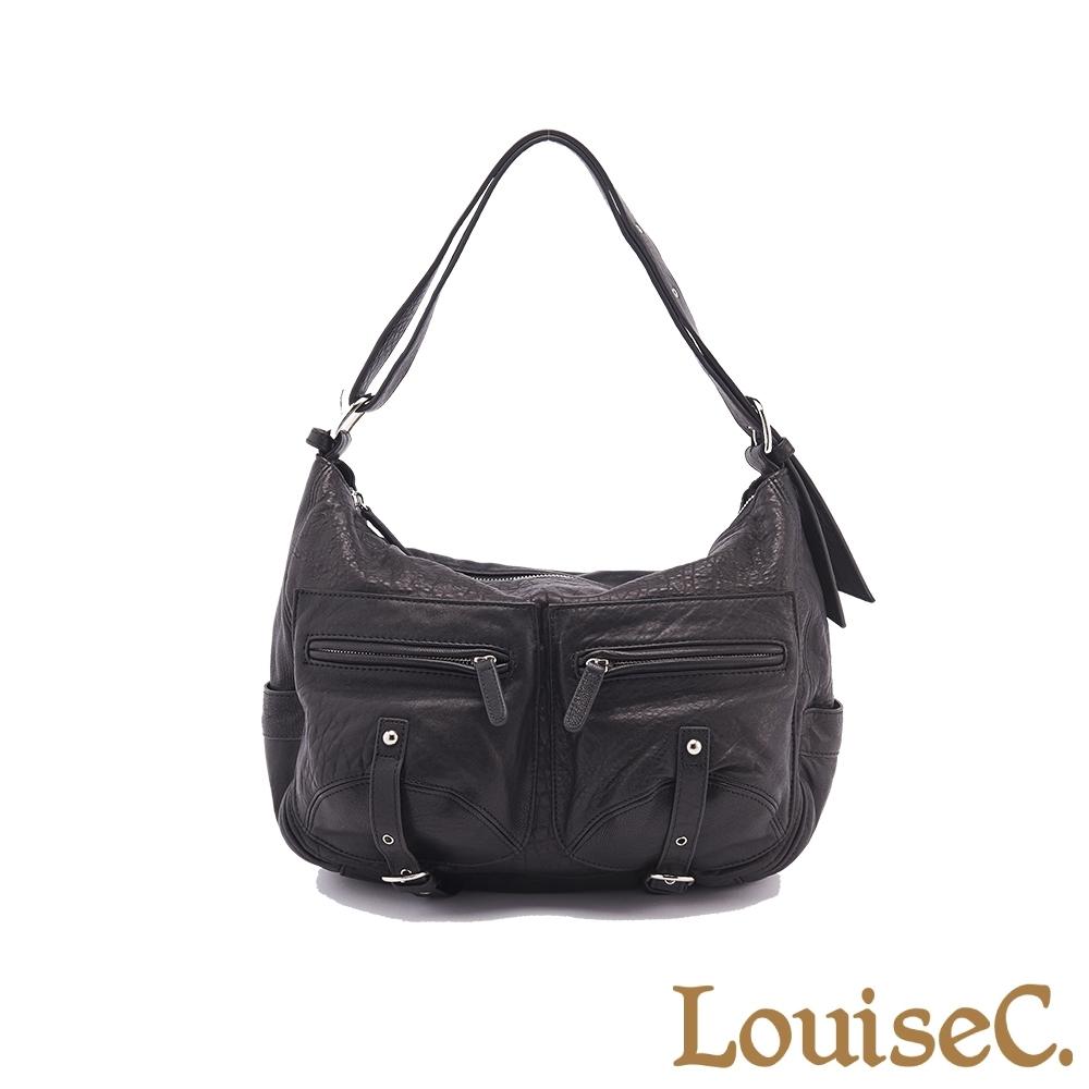 【LouiseC.】義大利水洗羊皮愛旅包-黑色 (LC3143-05)