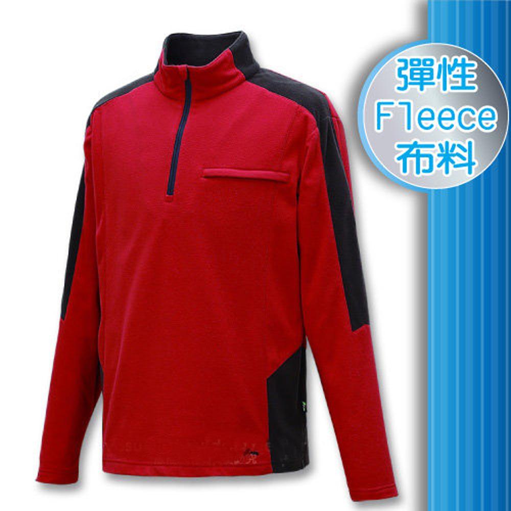 FIT 男款 雙刷雙搖保暖長袖上衣_FW1106 酒紅色W