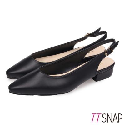 TTSNAP低跟鞋-MIT後跟挖空羊紋尖頭鞋 黑