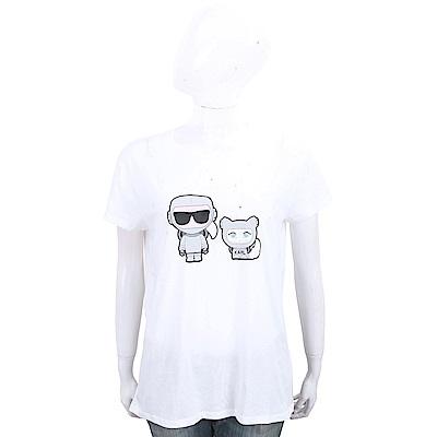 KARL LAGERFELD 膠囊系列 卡爾和貓太空造型圖案白色棉短T恤
