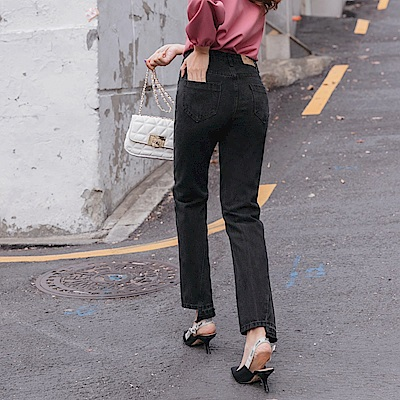修身立體剪裁不規則設計牛仔長褲-OB大尺碼