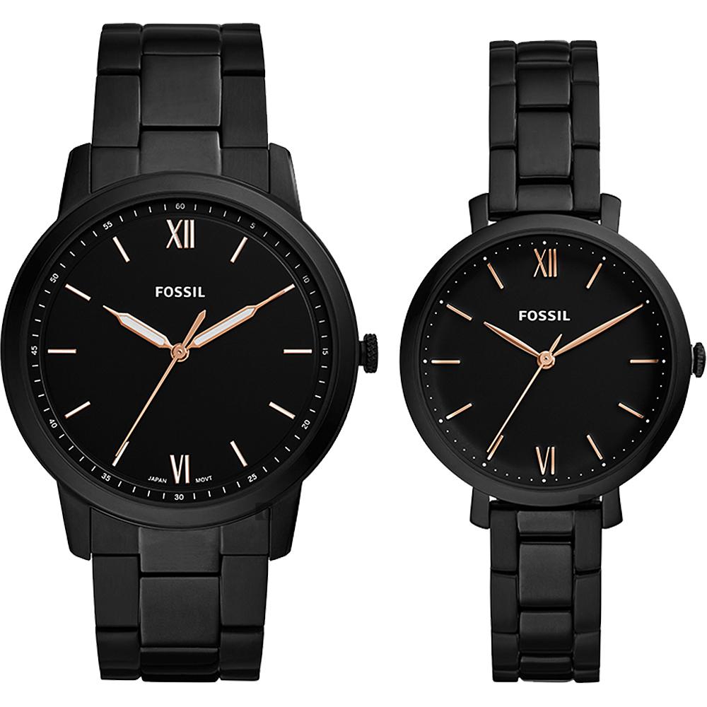 FOSSIL Minimalist 薄型簡約對錶(FS5514SET)-黑/44+36mm