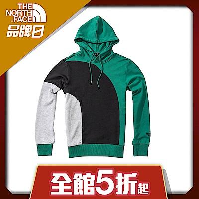 The North Face北面男女款綠色休閒大學T|4NERNL1