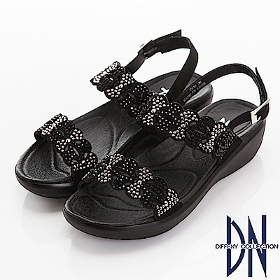DN 氣質沖孔 水鑽花漾楔型一字涼鞋-黑