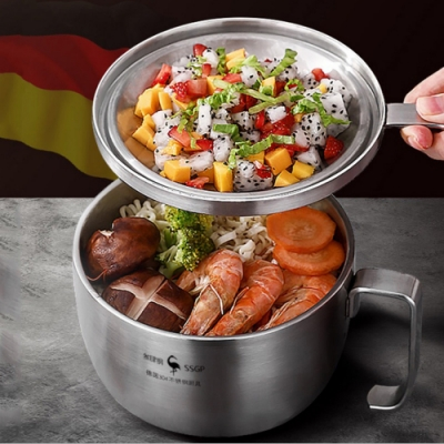 PUSH!餐具用品304不鏽鋼帶把含蓋泡麵碗E140(快)