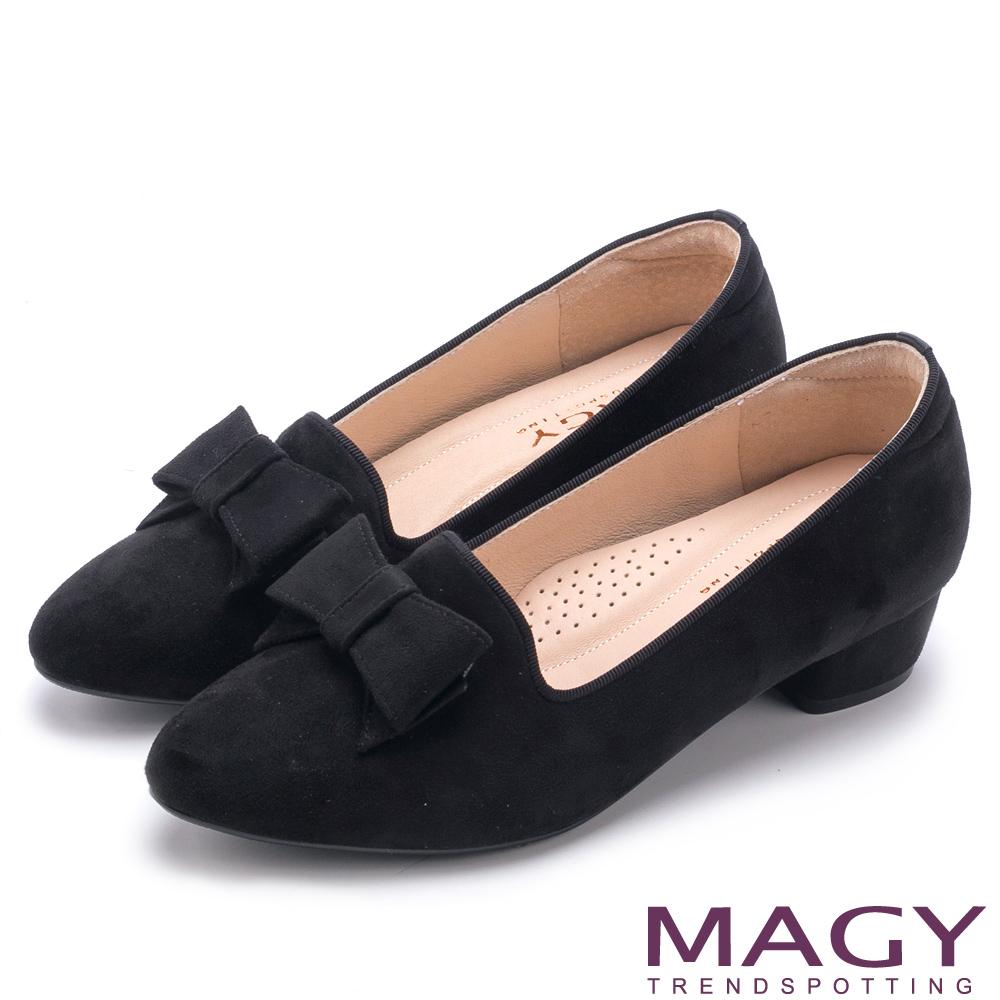MAGY 復古上城女孩 質感絨布蝴蝶結低跟鞋-黑色