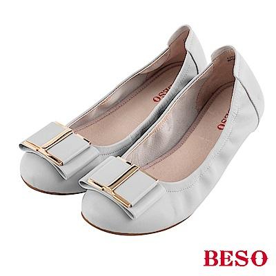 BESO 氣質 蝴蝶結摺疊娃娃鞋~灰