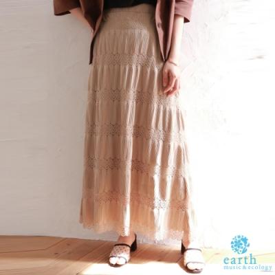 earth music 鏤空蕾絲拼接設計長裙