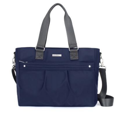 ELLE Active 知性優雅系列-托特包/肩背包/購物袋-深藍色