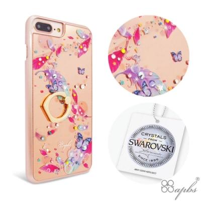 apbs iPhone8/7/6s Plus 5.5吋施華彩鑽鏡面指環扣手機殼-夢境之翼