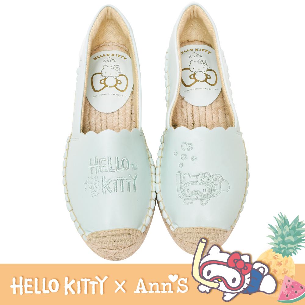 HELLO KITTY X Ann'S鳳梨單色刺繡小花邊平底草編鞋-薄荷藍綠