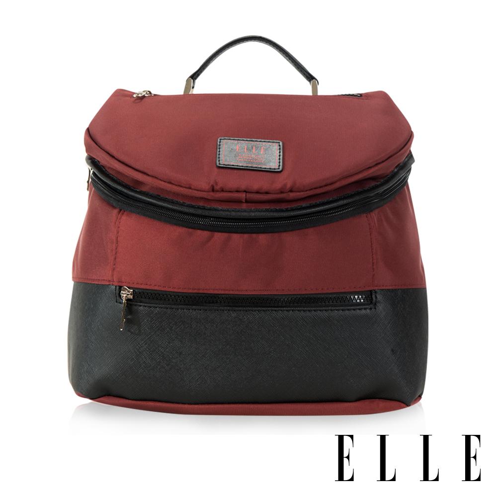 福利品 ELLE 法式頭層皮立體圓筒手提/側背包-紅色