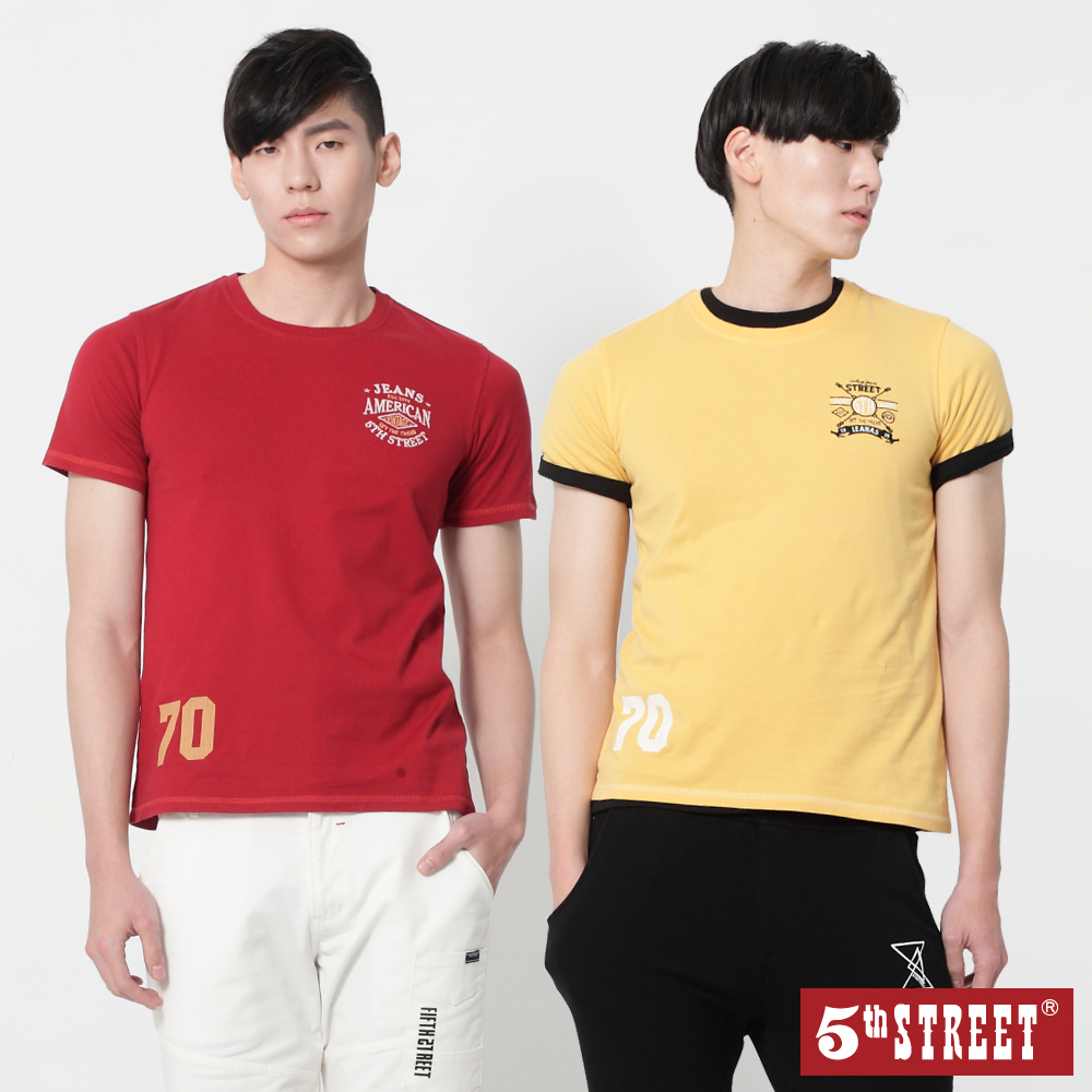 [時時樂限定] 5th STREET 男款後染繡花舒適T恤(三色)