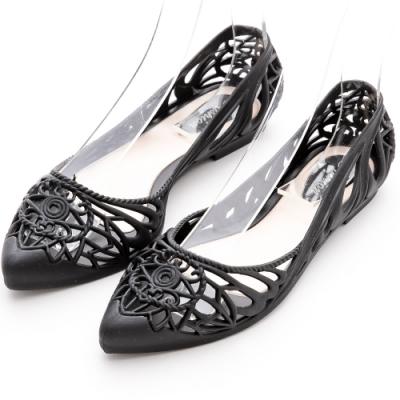 River&Moon防水鞋  晴雨兩穿異國簍空洞洞尖頭平底鞋 黑
