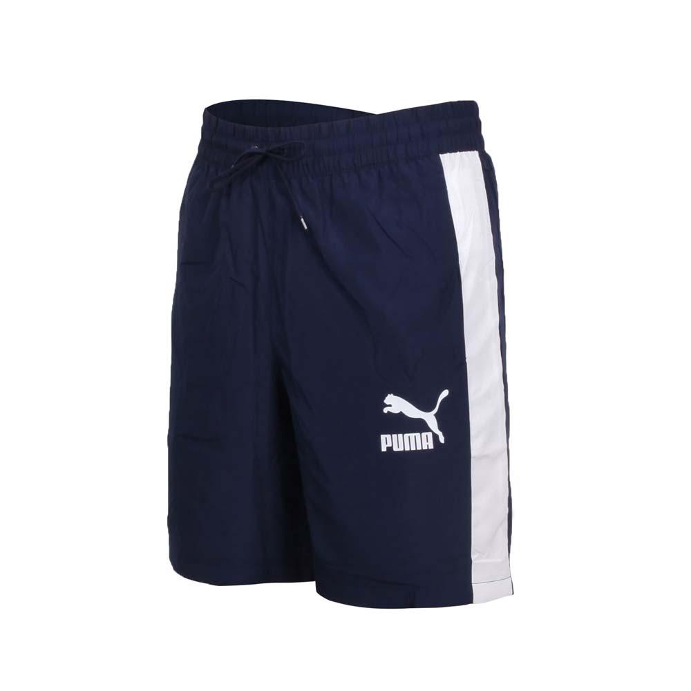 PUMA 男8吋短風褲-五分褲 慢跑 路跑 歐規 防風 平織 透氣 59768606 丈青白