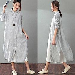 洋裝-條紋中長版襯衫裙/設計所在SQ938