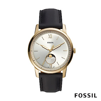 FOSSIL MINIMALIST MOONP 淡金色月相黑色皮革男錶 44mm FS5571