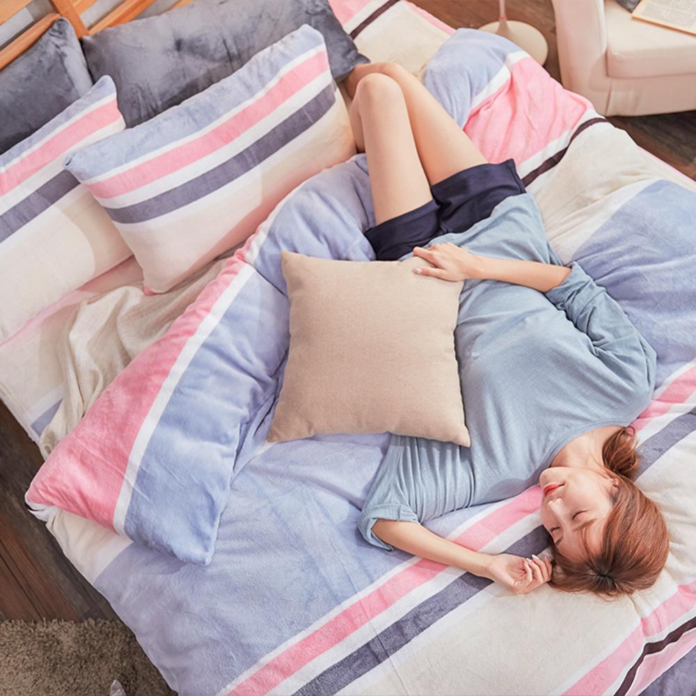 戀家小舖 / 法蘭絨  雙人加大床包兩用毯組  波麗露  保暖抗寒