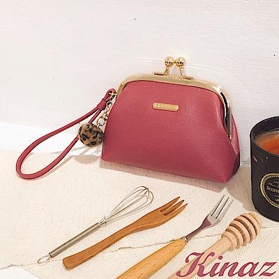 KINAZ 豹紋毛球手腕帶卡片口金包-薔薇桃紅-小物魔法系列