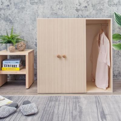 Birdie南亞塑鋼-防水二門一格組合式塑鋼衣櫃/雙吊桿塑鋼衣櫃/白橡90x46.5x90