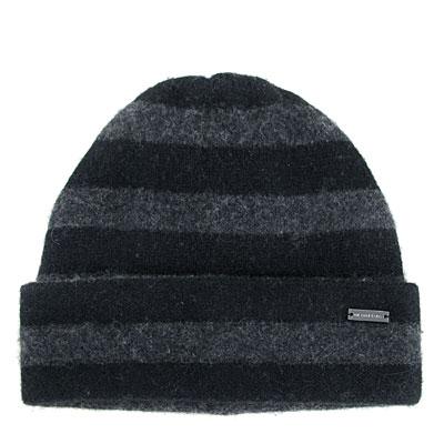 MICHAEL KORS 雙色條紋飾牌純羊毛毛線帽(炭黑雙色-男女皆宜)