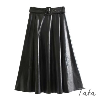 側拉鍊A字皮裙(附腰帶) TATA-(S/M)