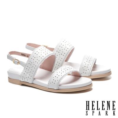 涼鞋 HELENE SPARK 氣質百搭一字沖孔楔型低跟涼鞋-白