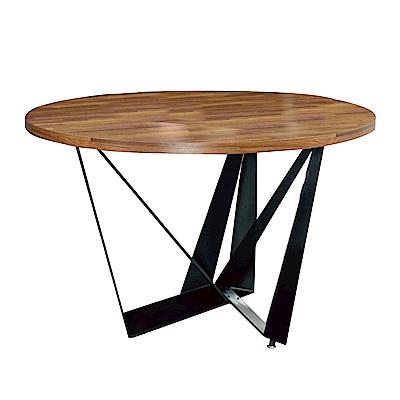 文創集 艾斯陸時尚4尺木紋餐桌/圓桌(不含餐椅)-120x120x75cm免組